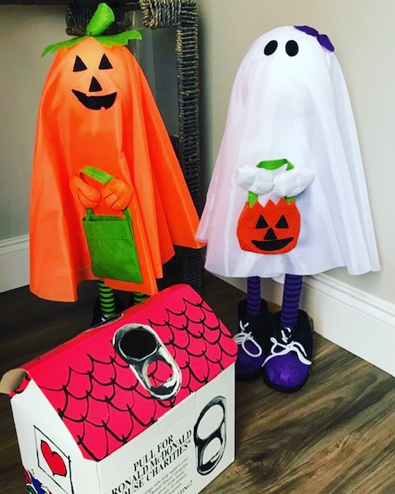 Halloween decorations Pumpkin and ghost with Ronald McDonald house tab collection box